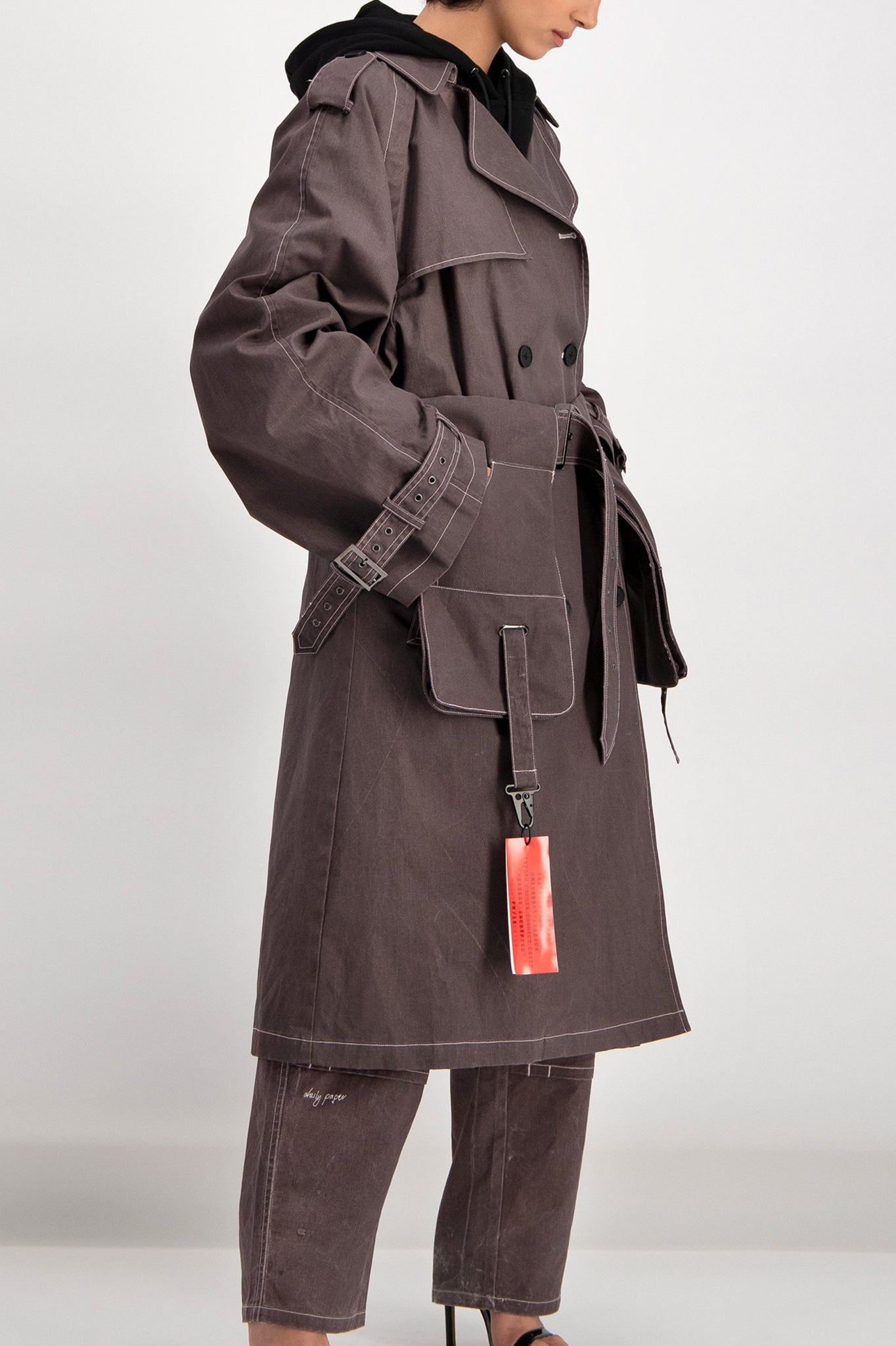 Daily Paper Oversized Grey Denim Trench Coat