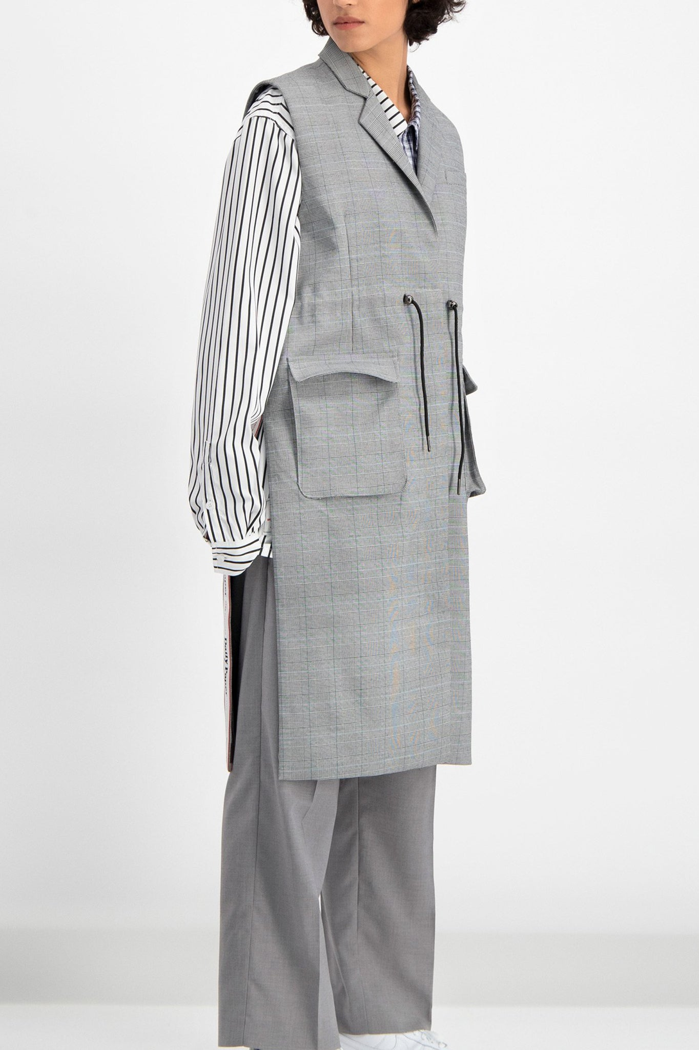 Daily Paper Grey Checkered Blazer Vest