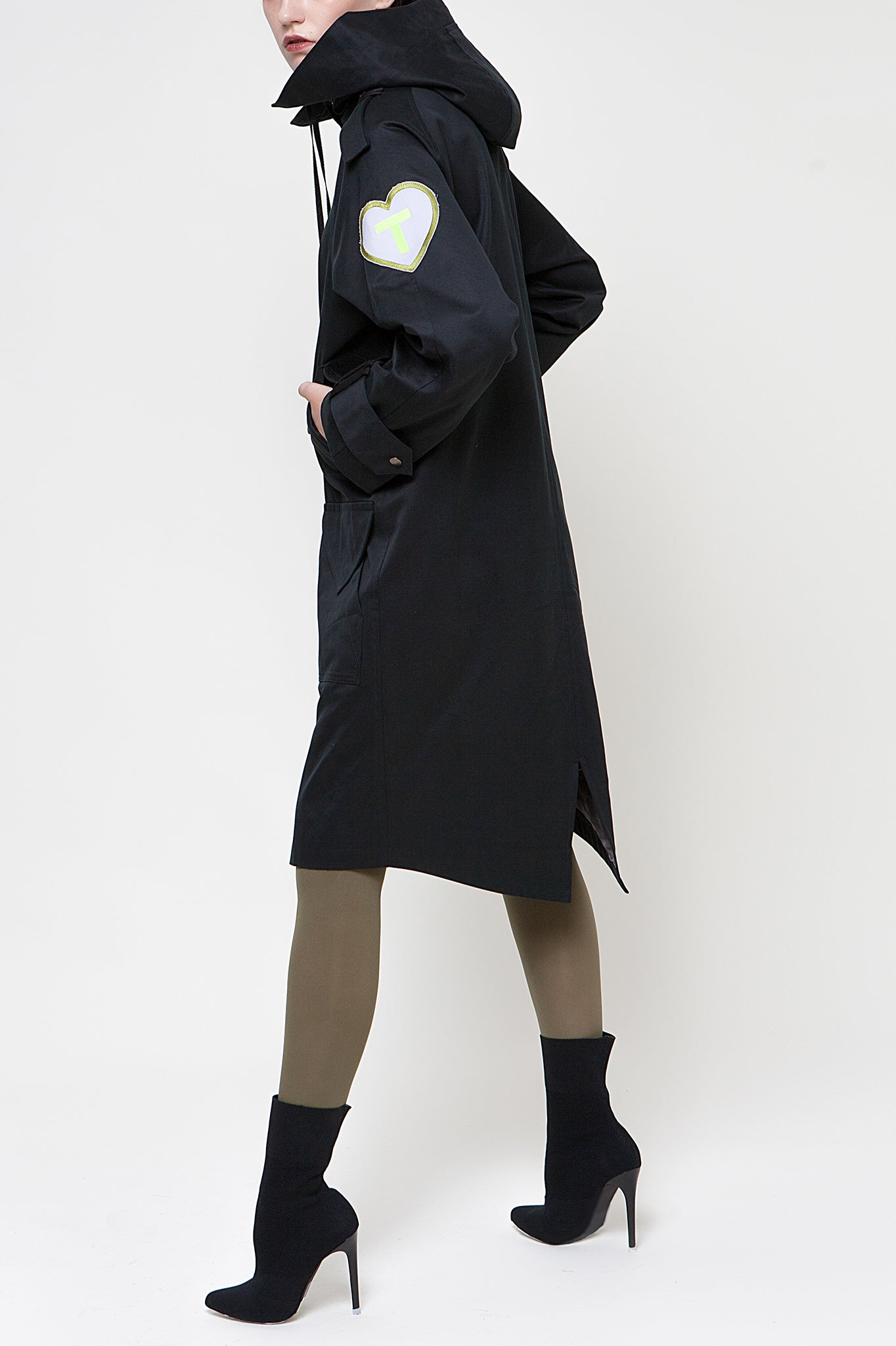 Talented Black Hooded Parka Coat