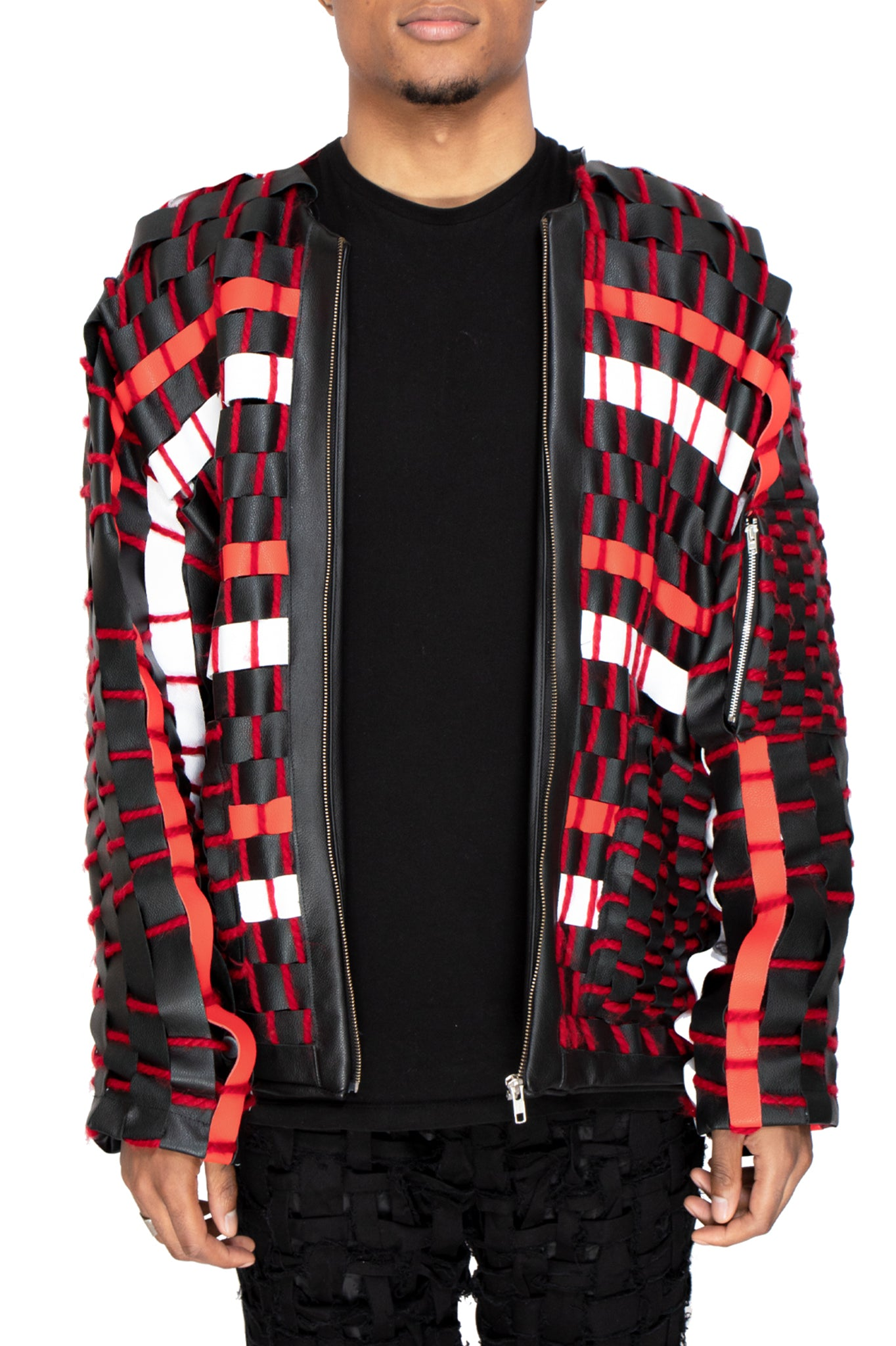 Raus Red and Black Wool and Leather Crafted Jacket