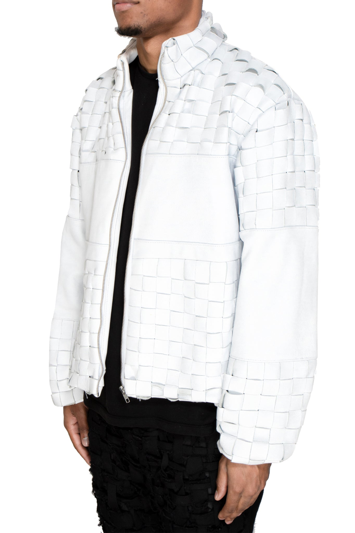 Raus White Leather Jacket with Woven Details