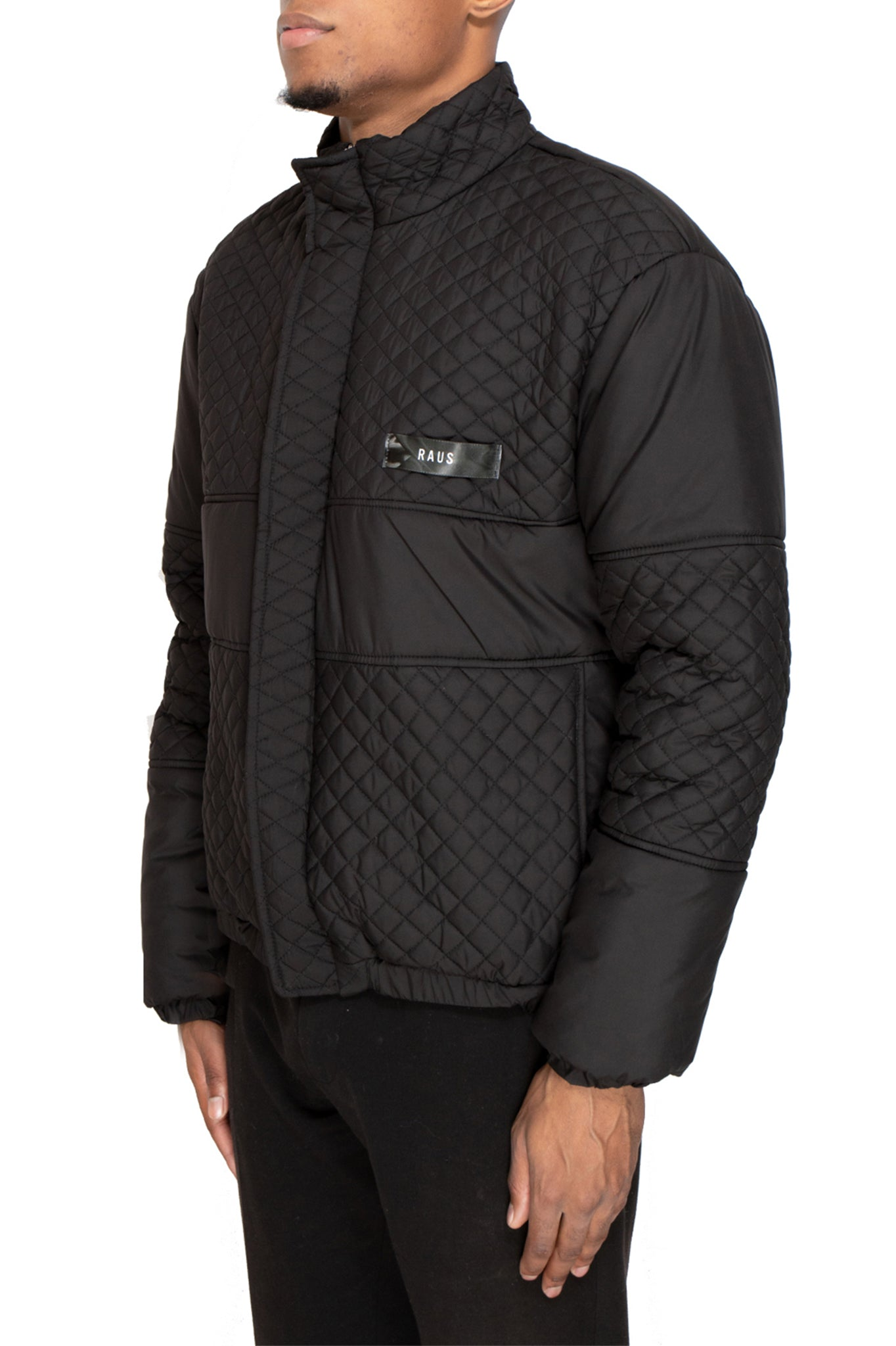 Raus Black Quilted Soft Nylon Panelled Jacket