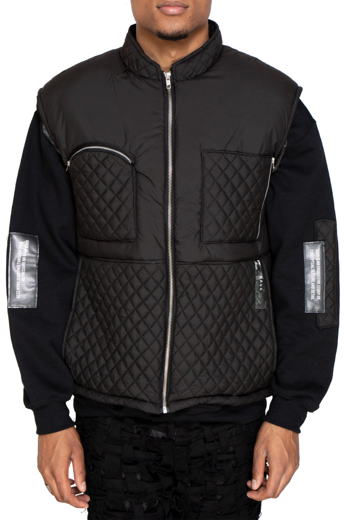 Raus Black Quilted Soft Nylon Panelled Gilet