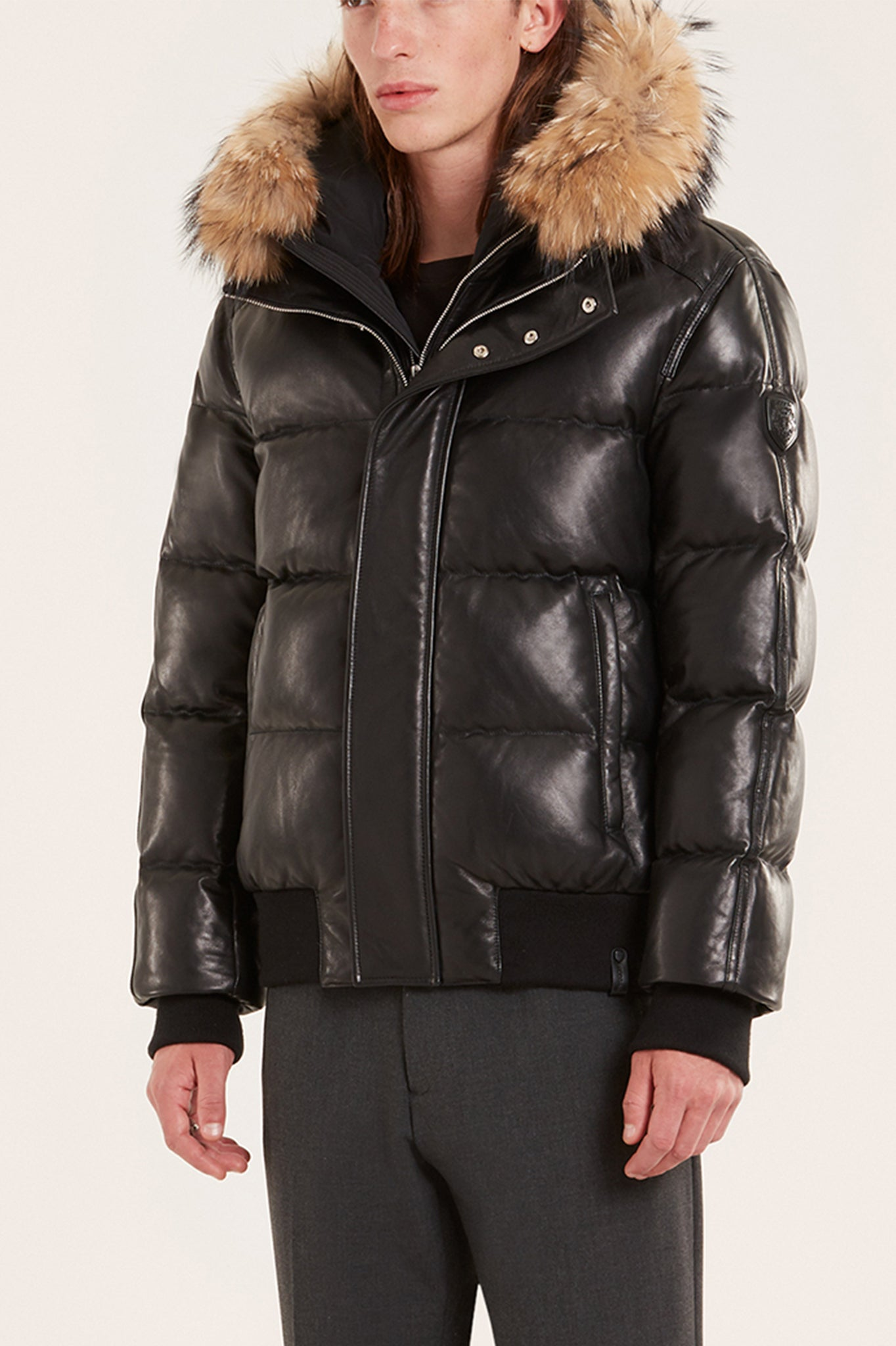 Rudsak Black Quilted Puffer Leather Down Coat