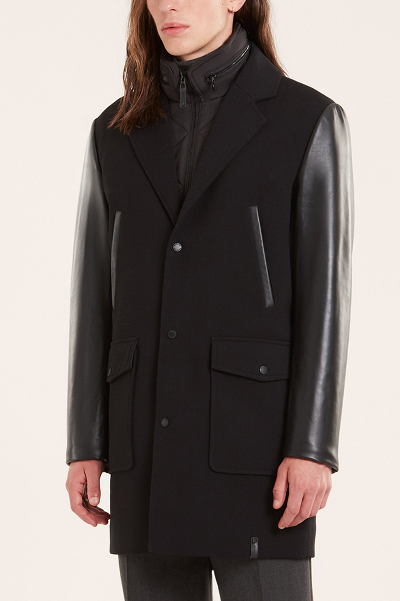 Rudsak Black Overcoat with Leather Sleeves