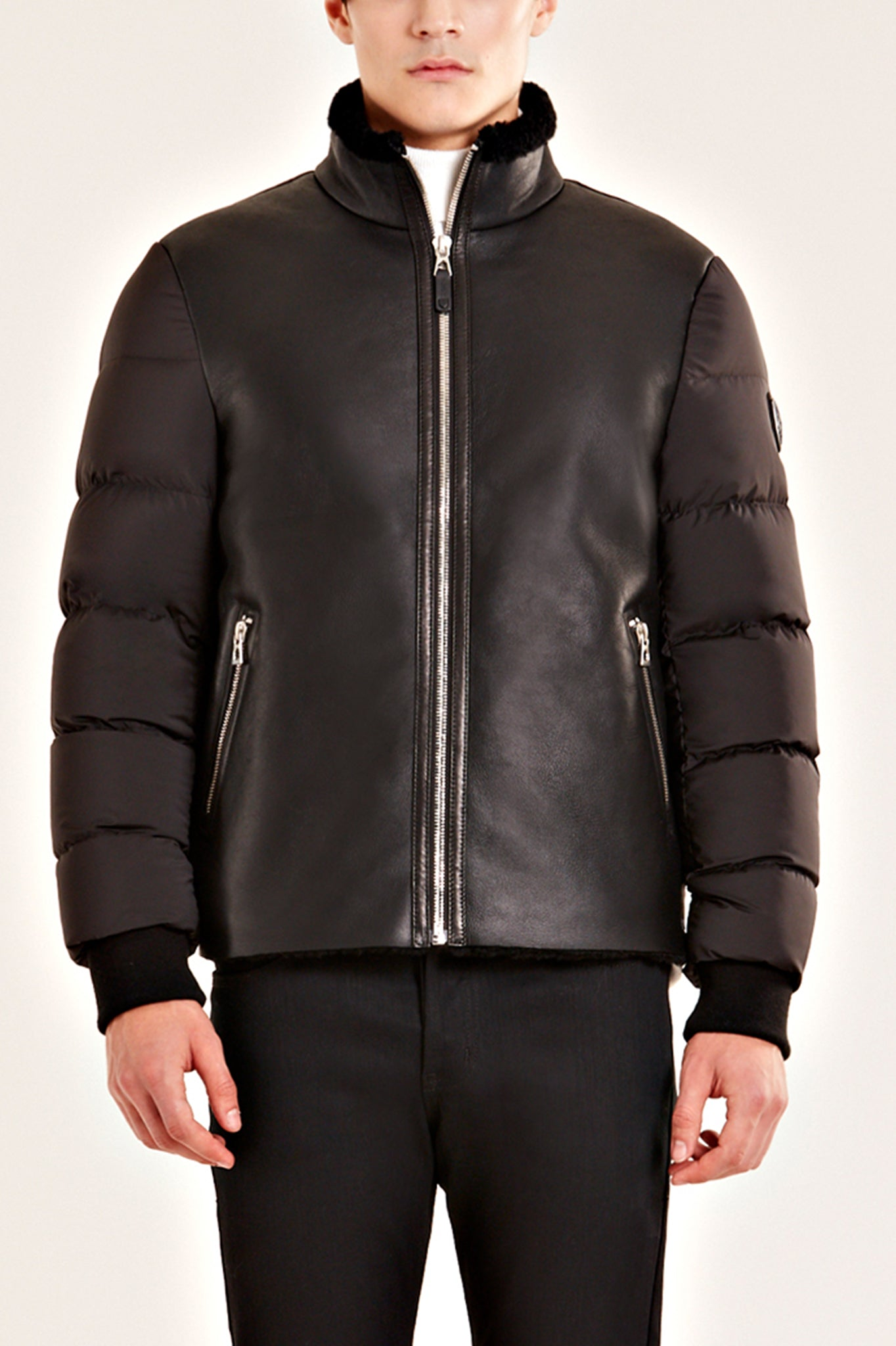 Rudsak Black Quilted Down and Shearling Bomber Jacket