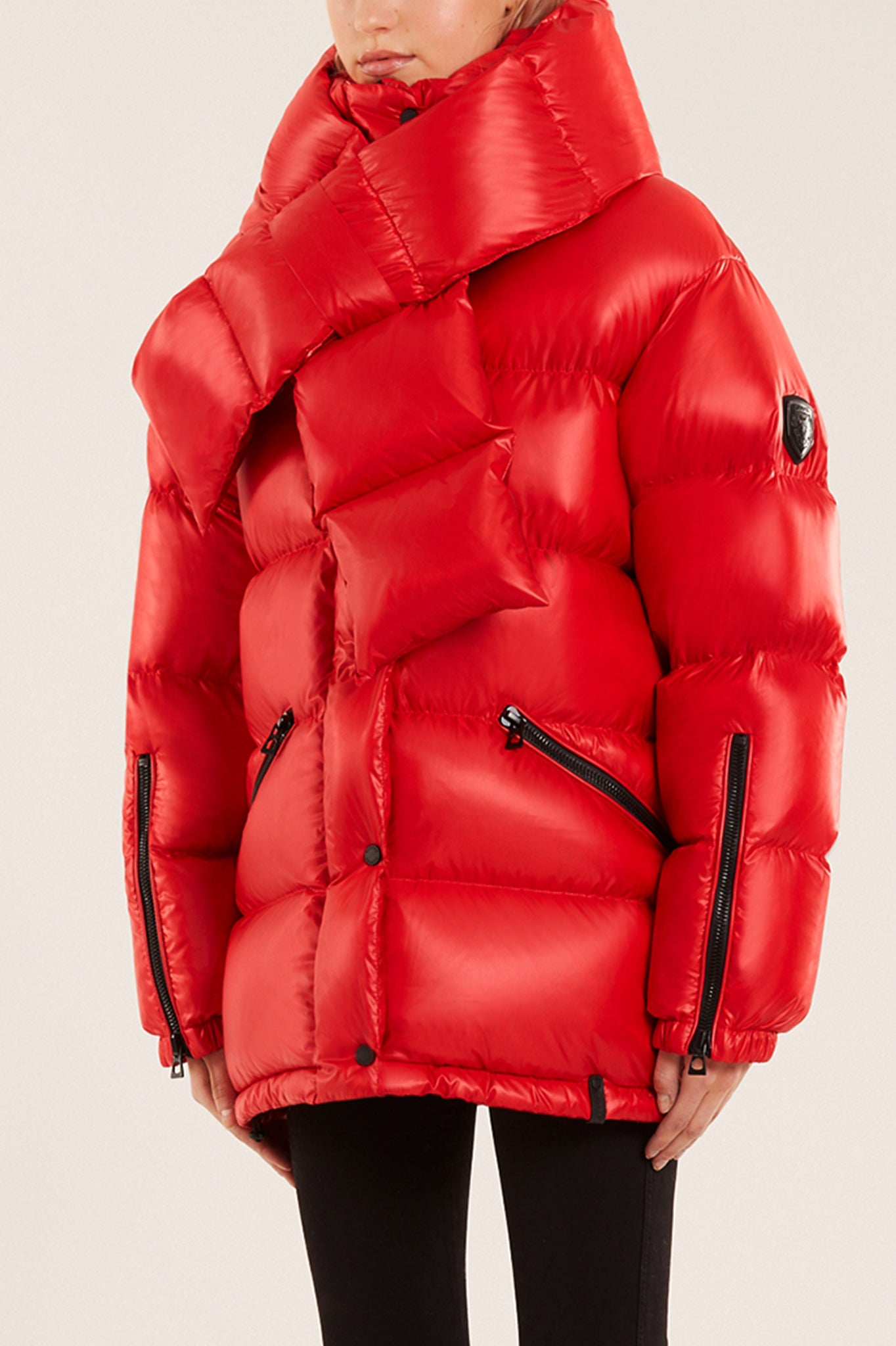 Rudsak Red Puffer Coat with Detachable Down Scarf