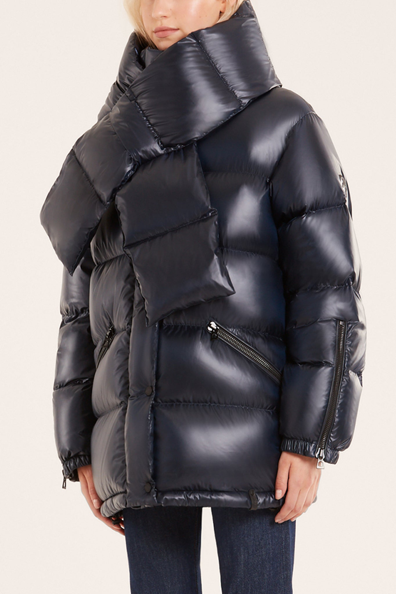 Rudsak Navy Blue Puffer Coat with Detachable Down Scarf