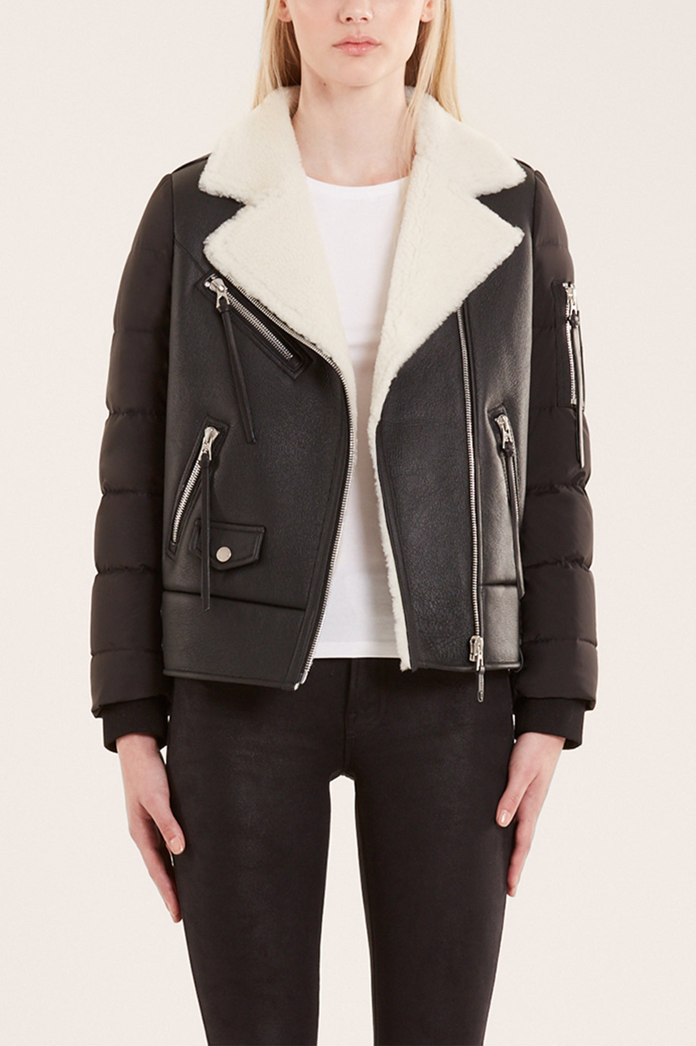 Rudsak Quilted Down Puffer and Shearling Black Leather Jacket