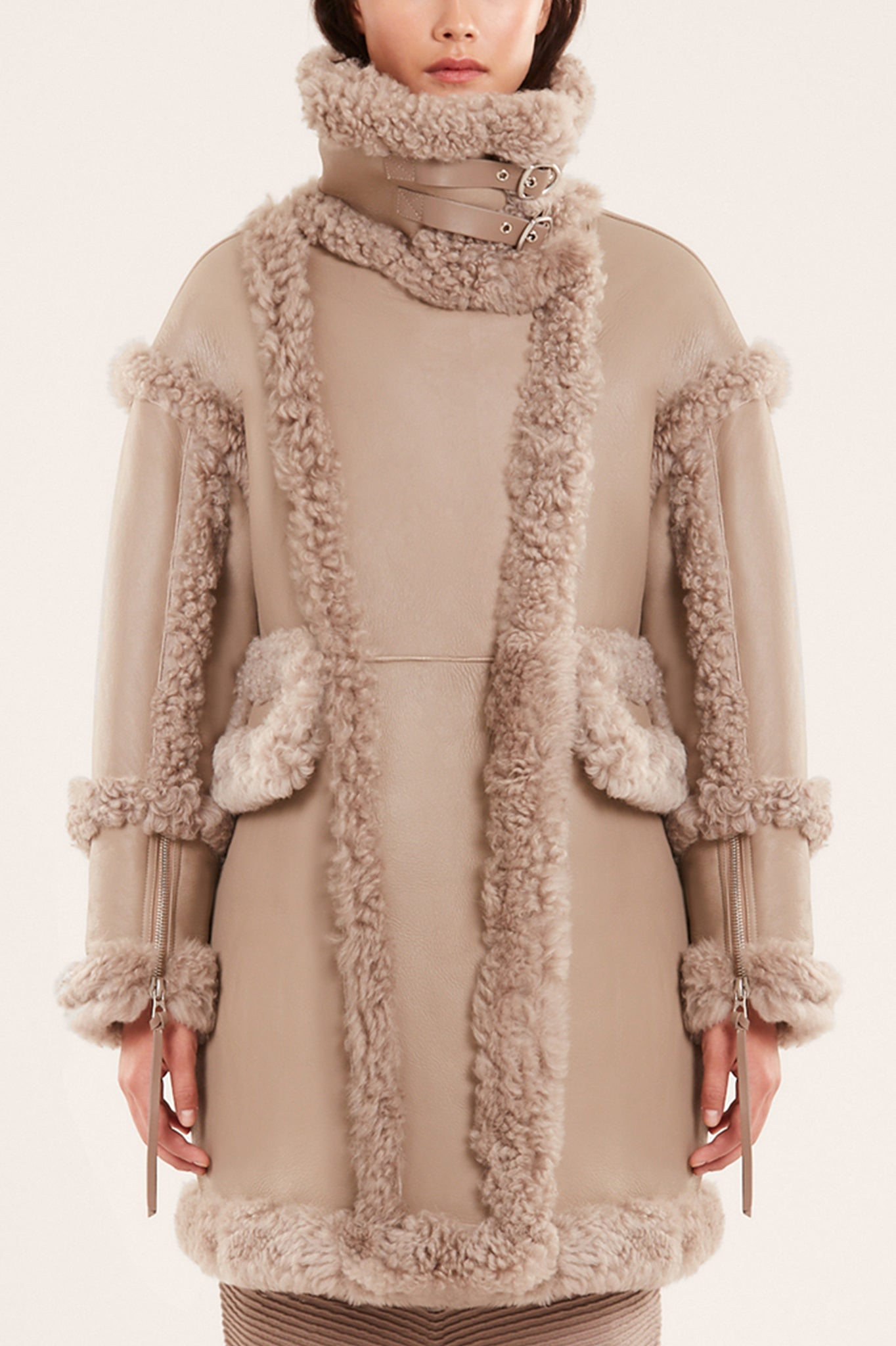 Rudsak Beige Shearling and Leather Jacket
