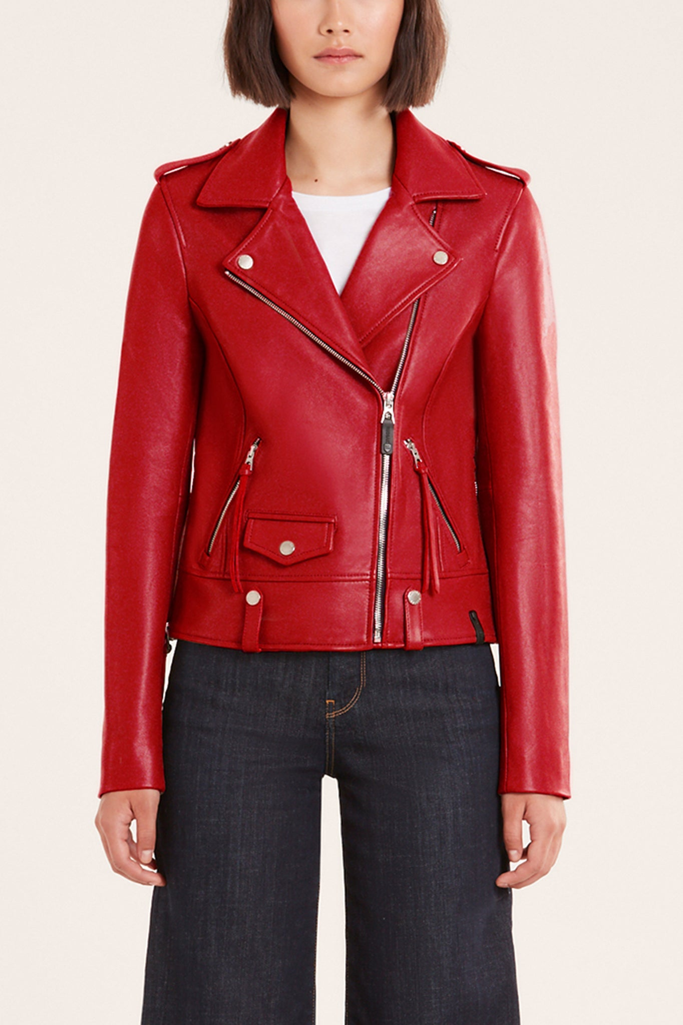 Rudsak Red Classic Leather Biker Jacket