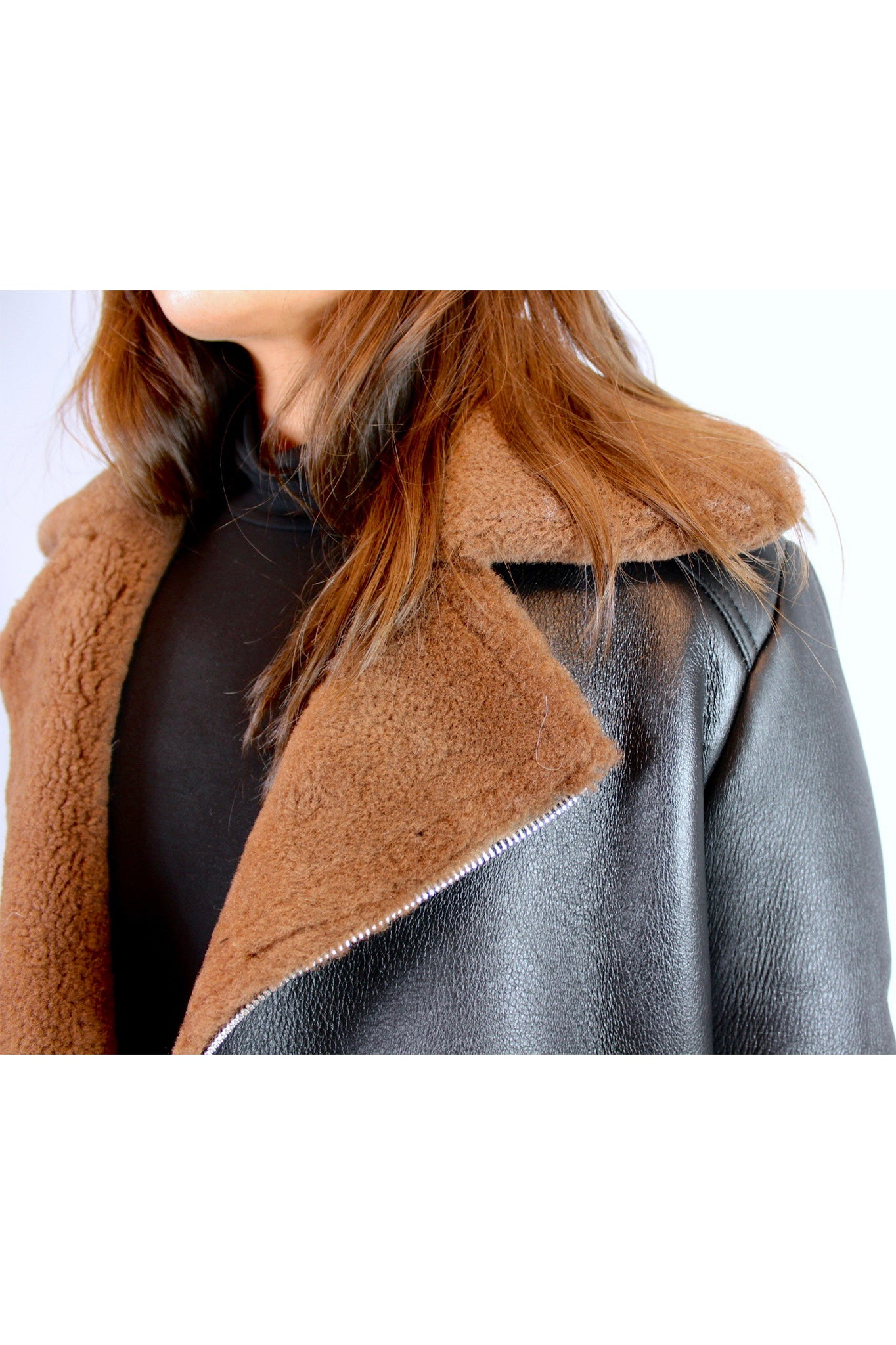 Rudsak Black Leather Jacket with Brown Shearling Trimming