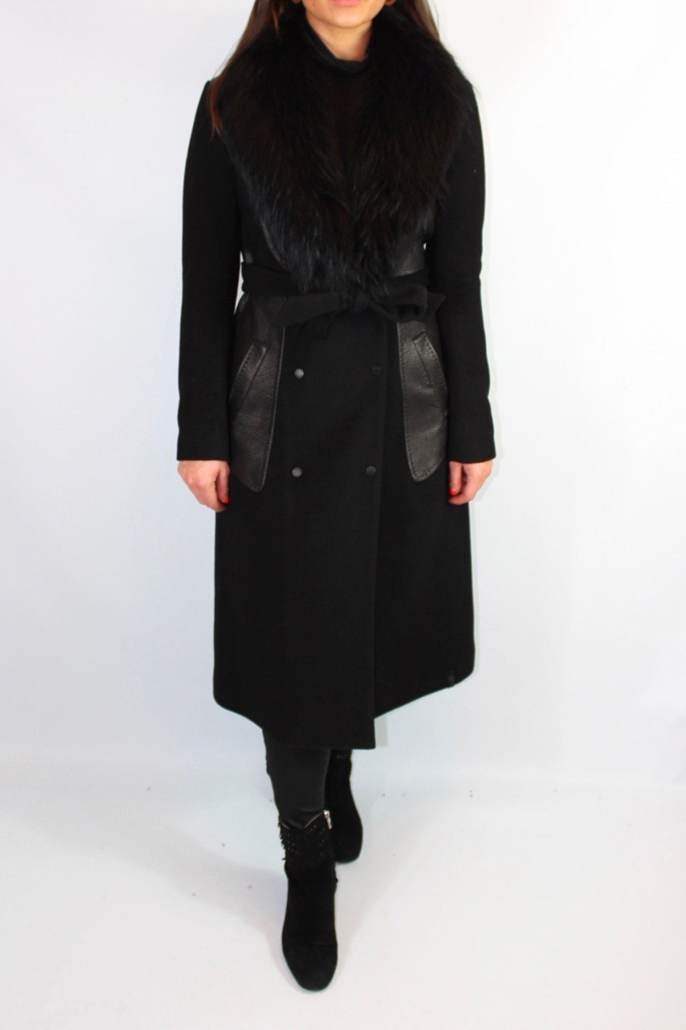 Rudsak Black Wool and Leather Belted Trench Coat