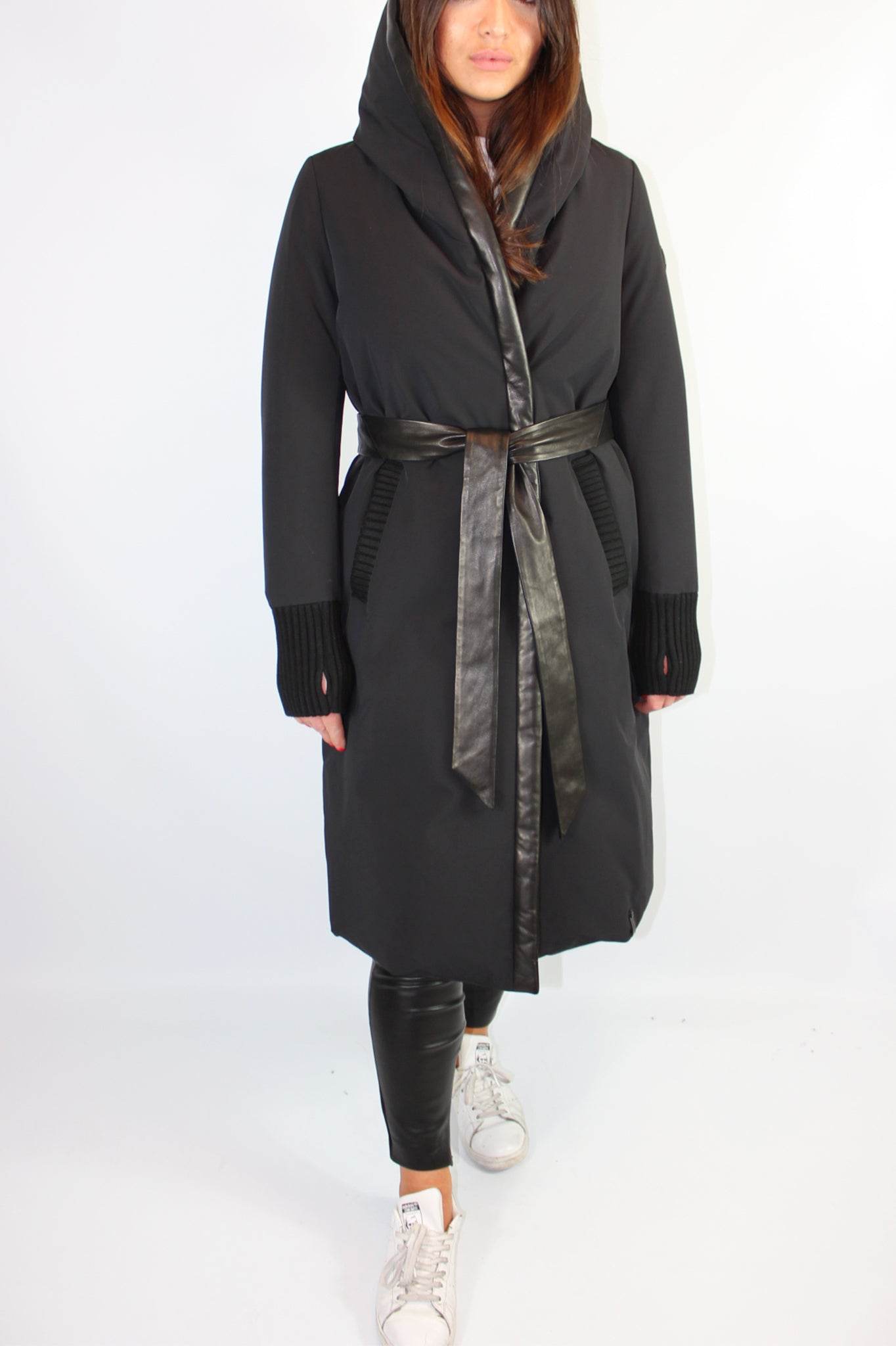 Rudsak Black Belted Hooded Puffer Parka Coat