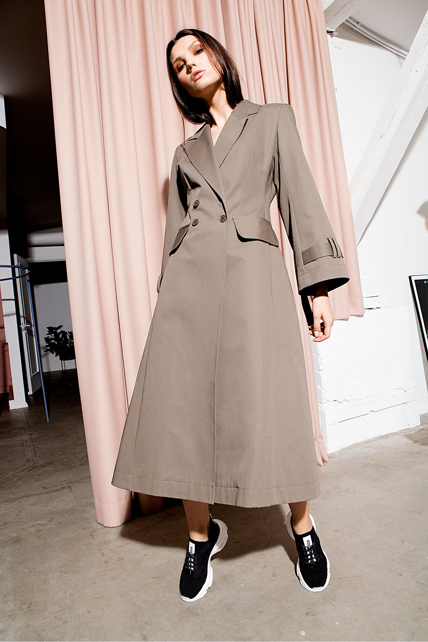Talented Khaki Double Breasted Trench Coat