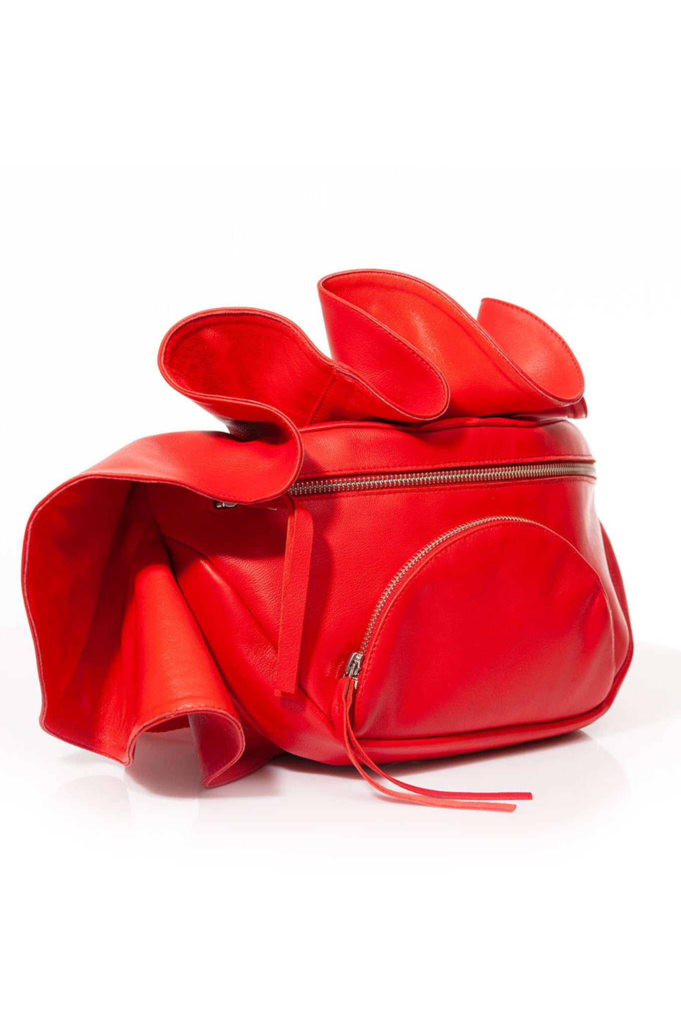 Talented Red Ruffled Leather Bumbag Waistbelt