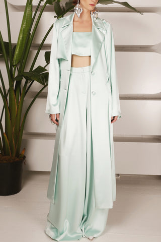 Victoria Hayes Trench Coat in Mint Green