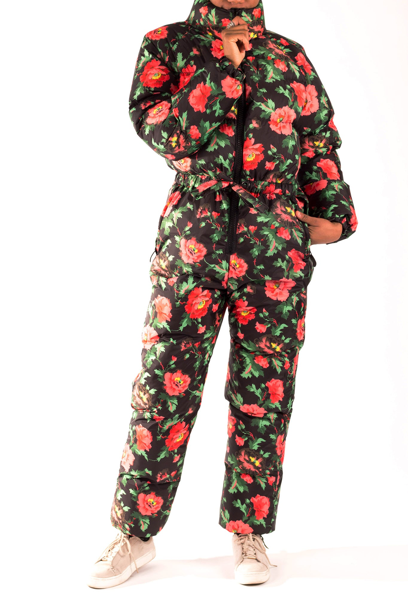 Female model wearing Floral Snow Jump suit