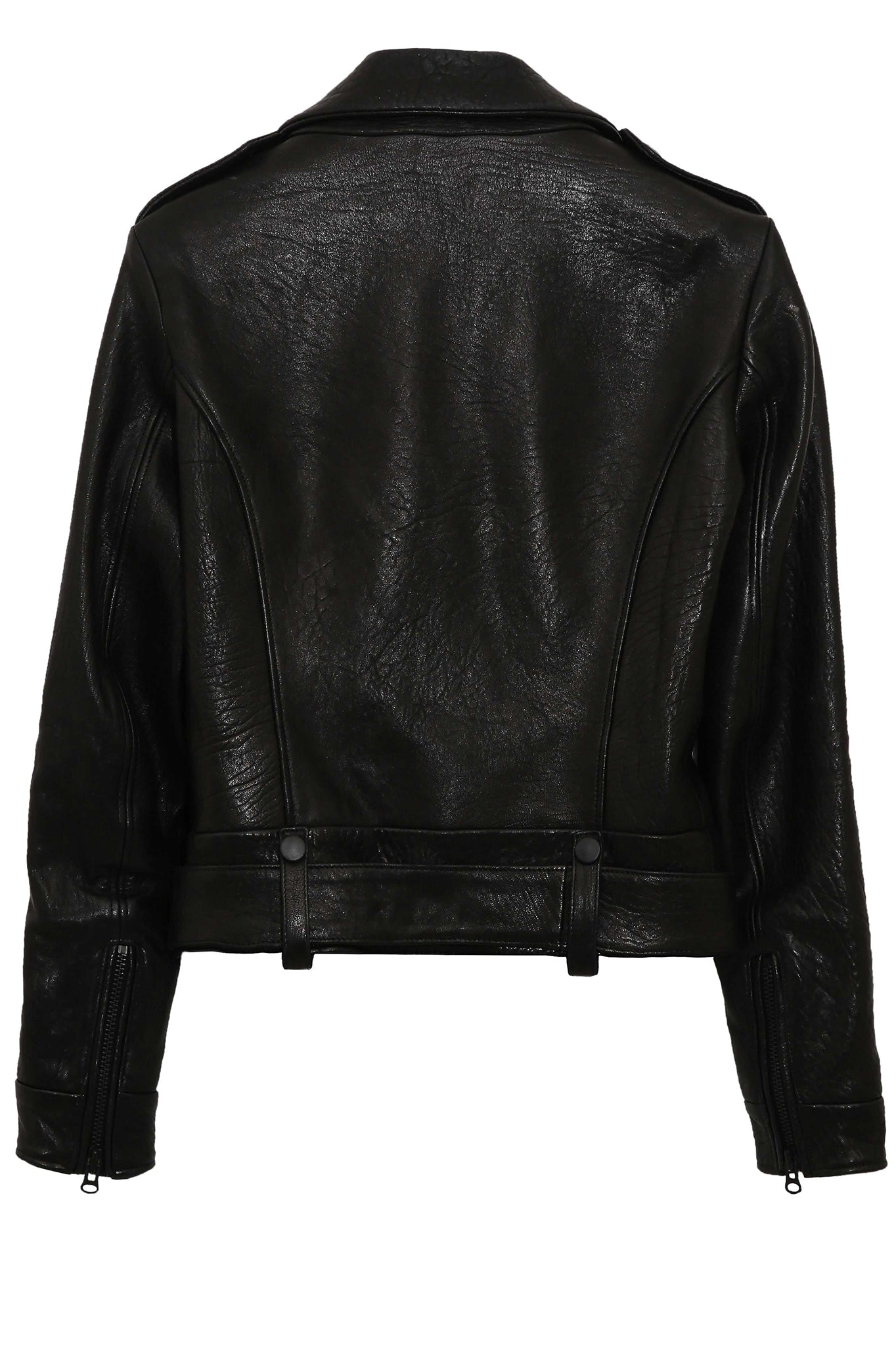 Whyte Studio Leather Biker Jacket in Black