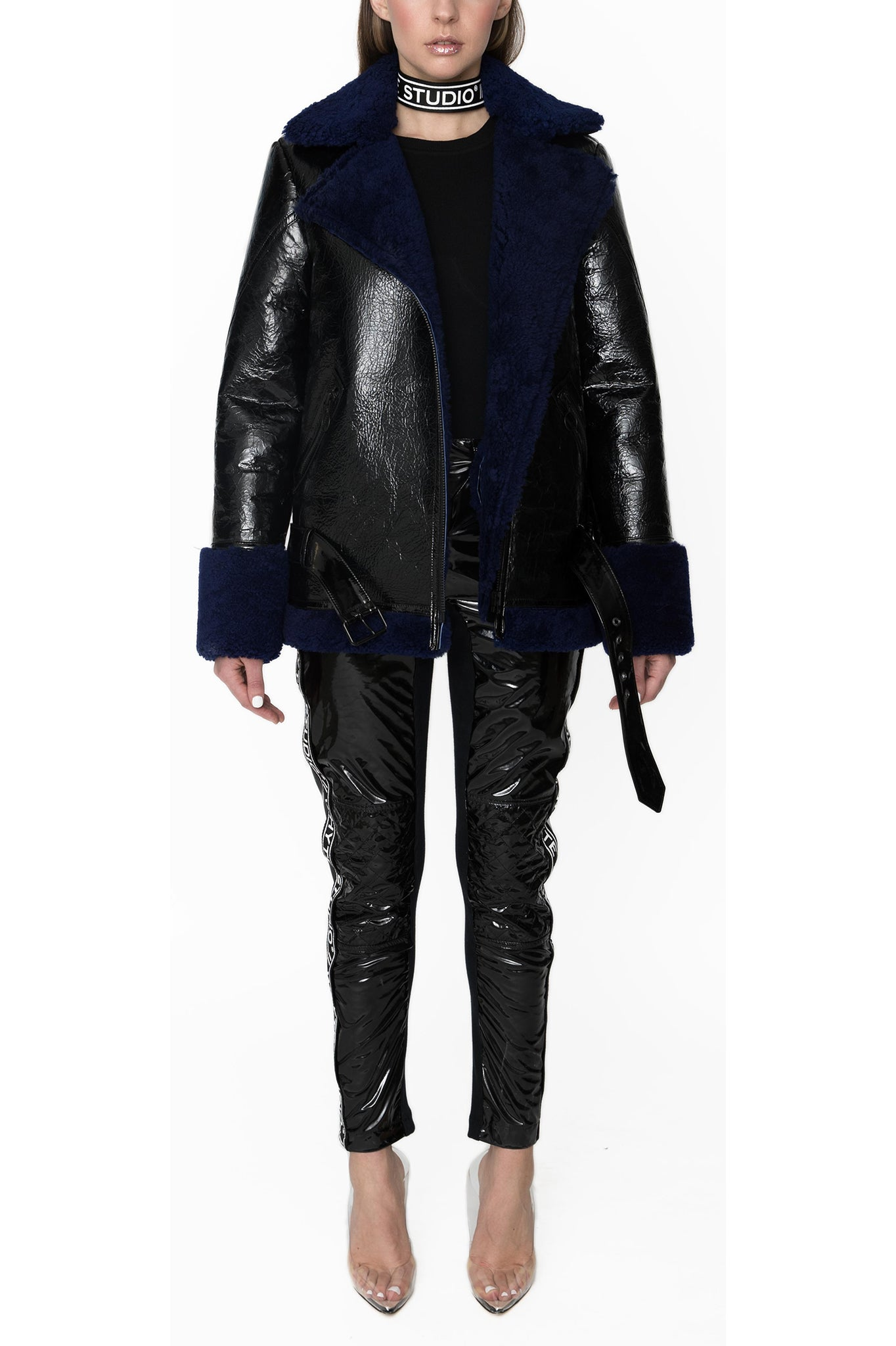 Whyte Studio Black Leather Jacket with Blue Shearling Trim