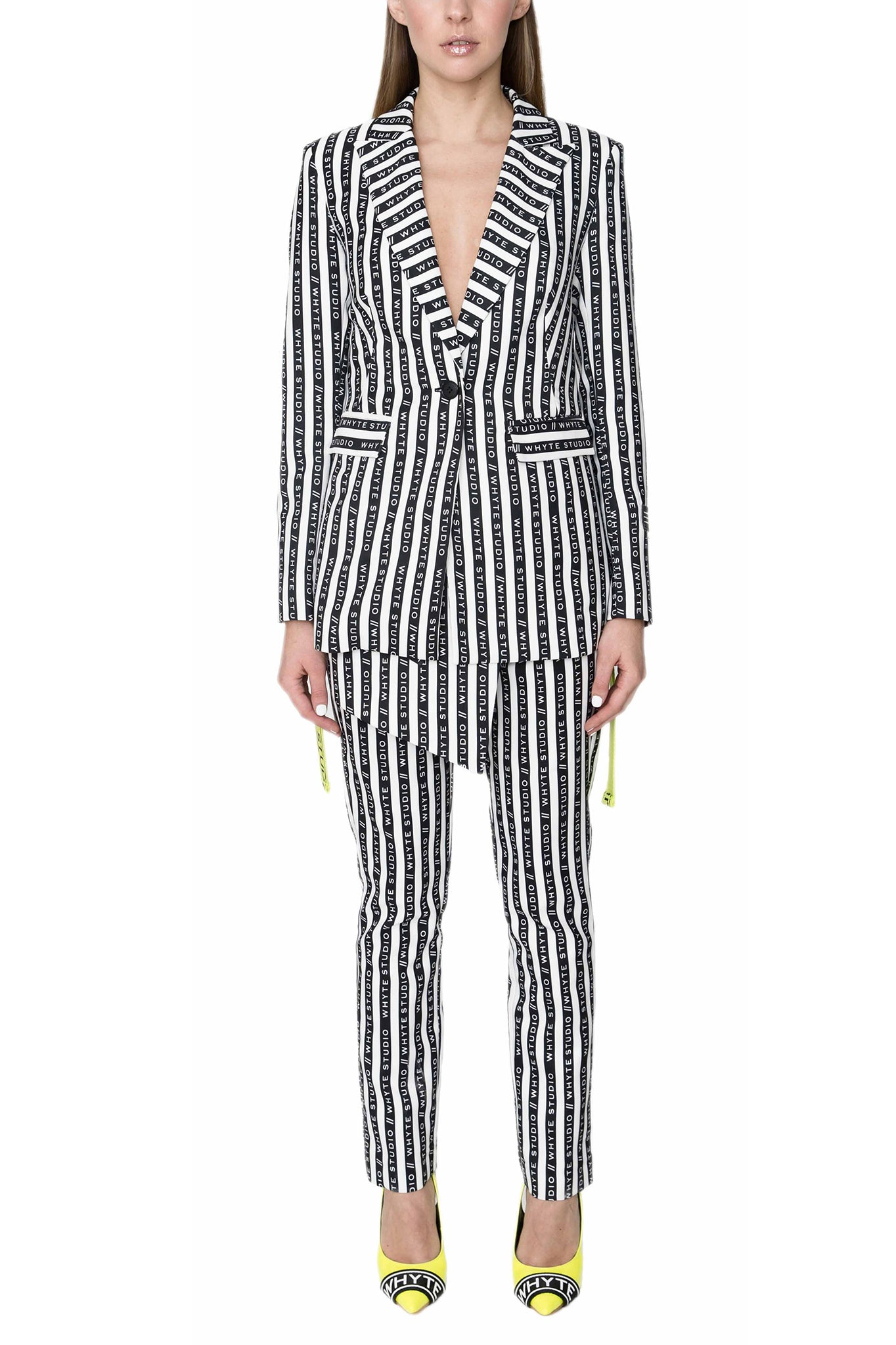 Whyte Studio Striped Blazer in Black and White