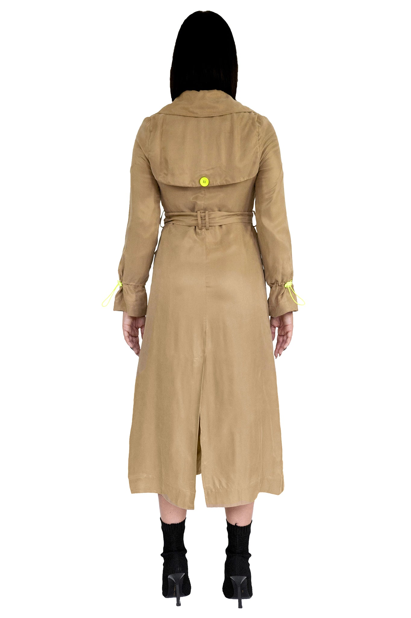 Whyte Studio Beige Silk Trench Coat