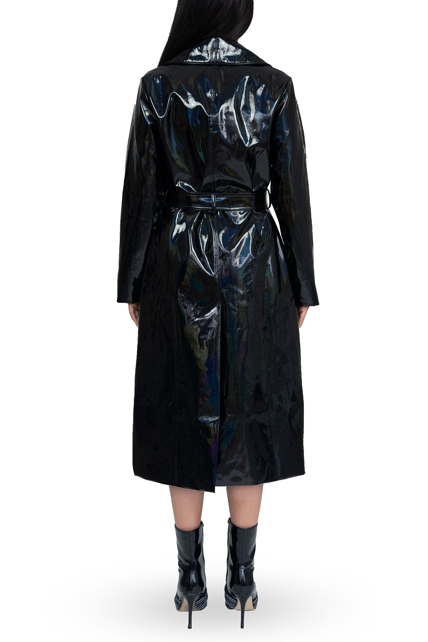Whyte Studio Black PVC Trench Coat