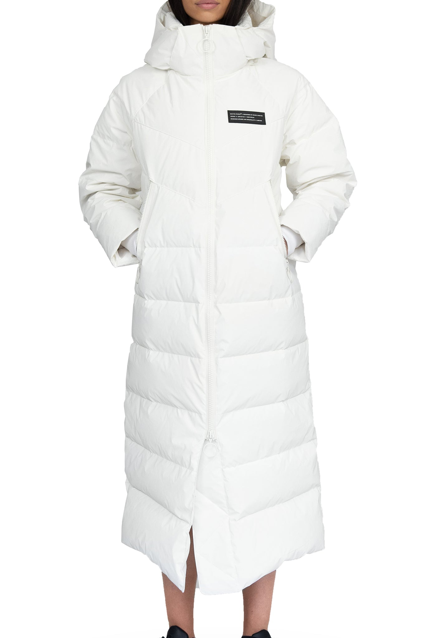 Whyte Studio Long White Puffer Coat