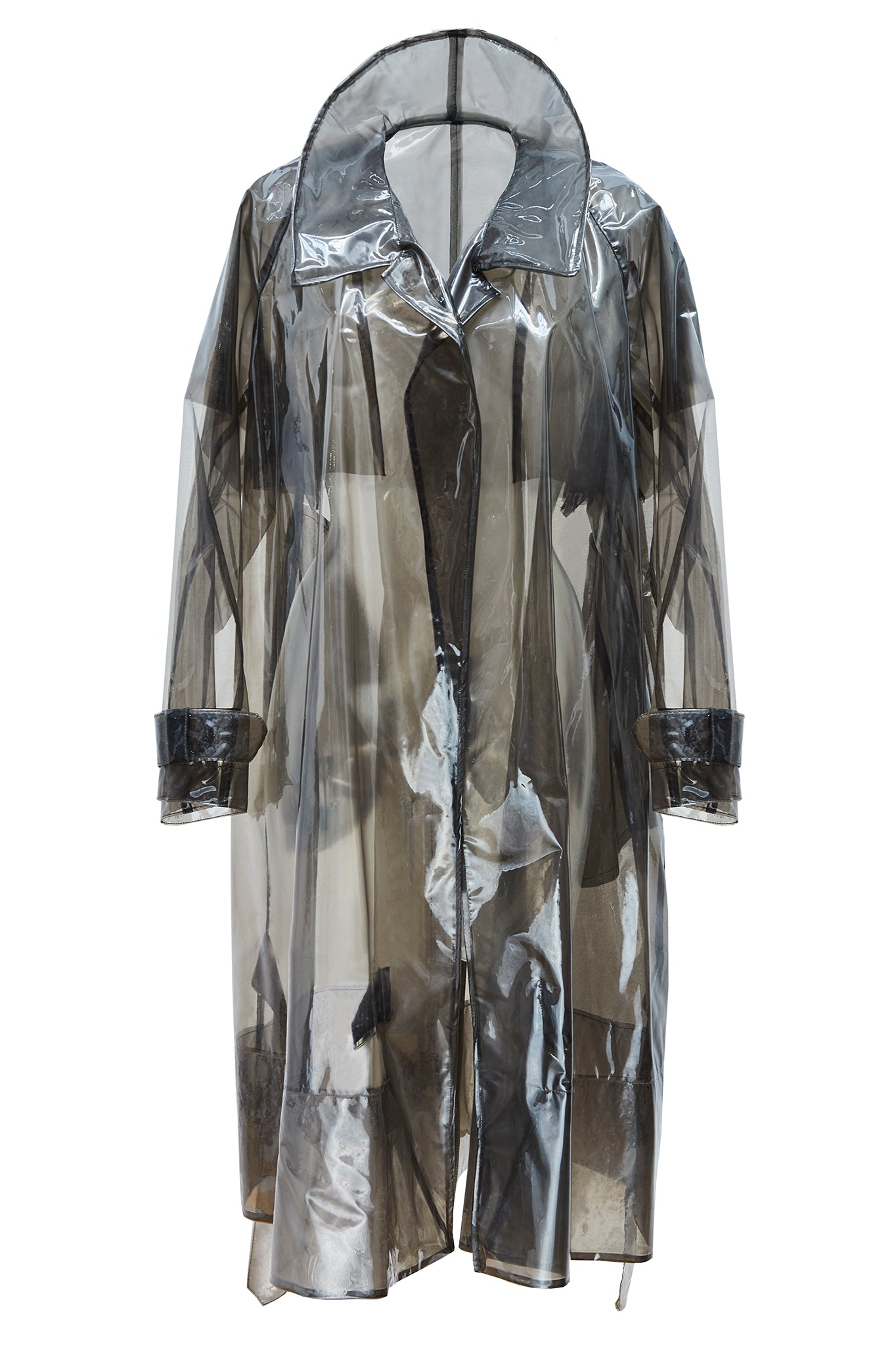 cimone plastic mac trench coat front