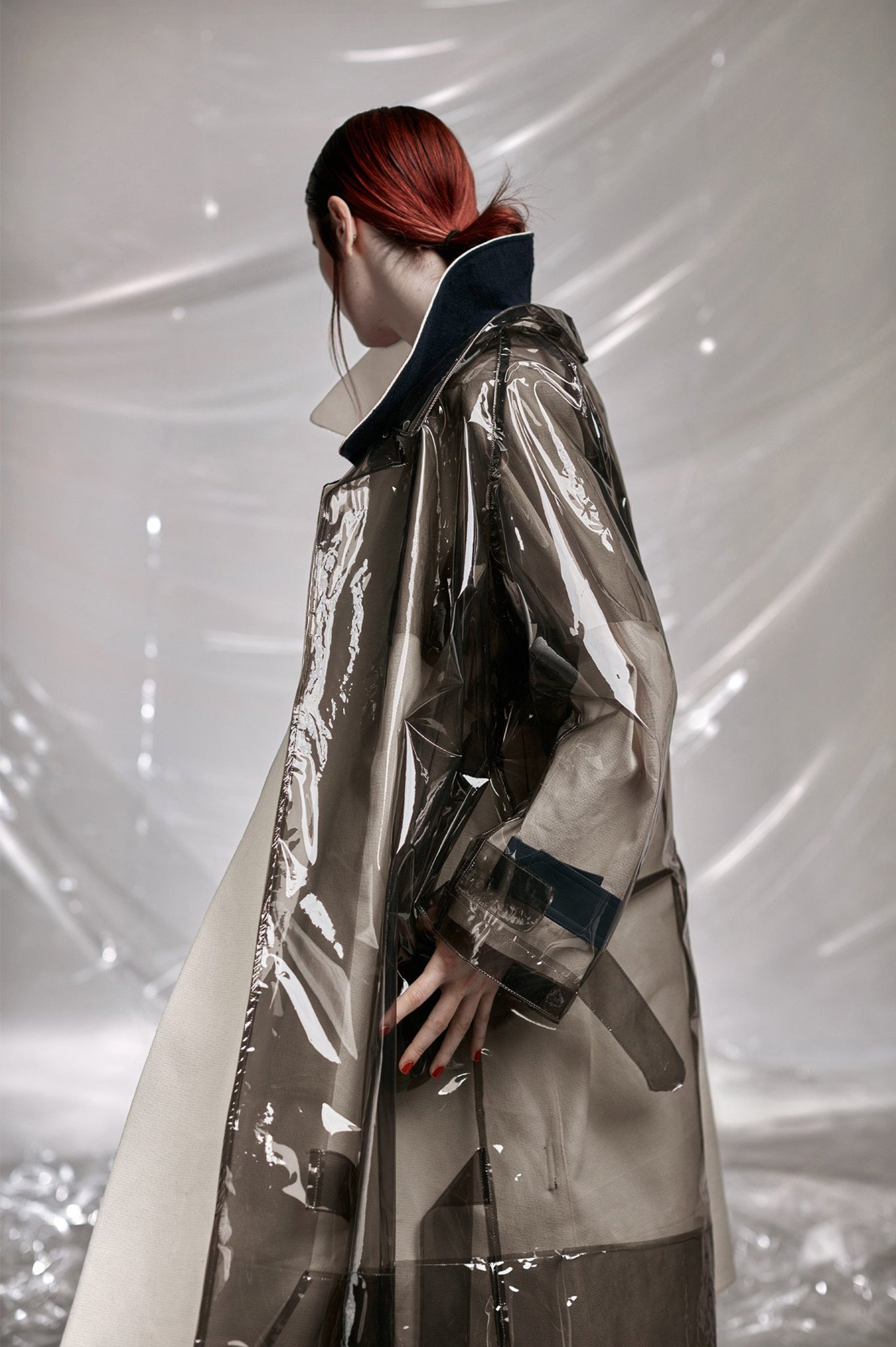 cimone plastic mac trench coat model back