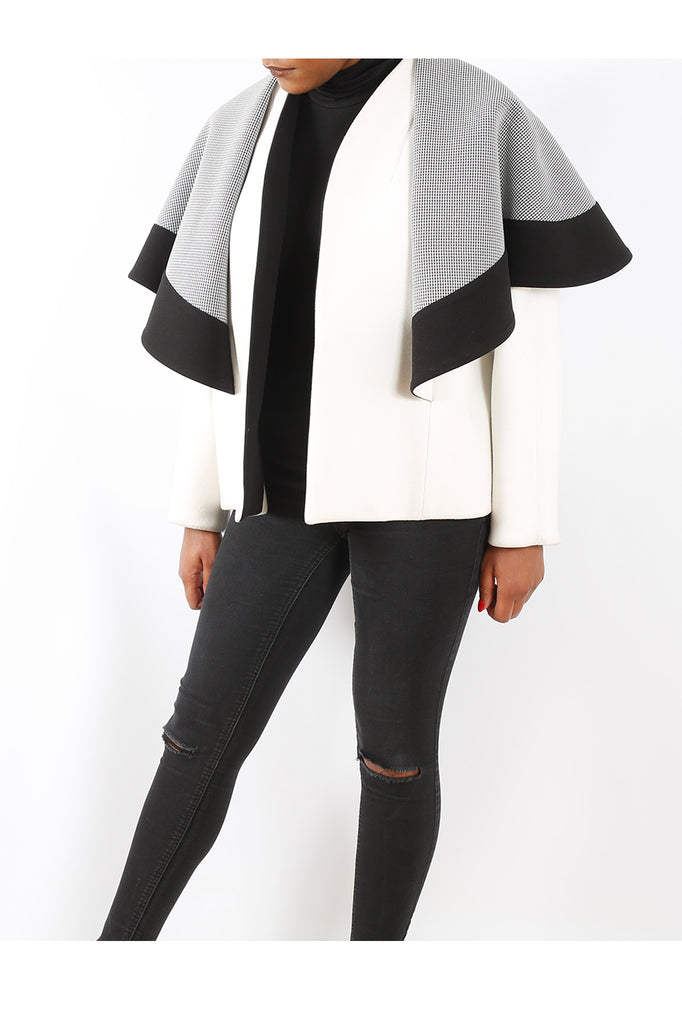 cimone white wool jacket with houndstooth women model