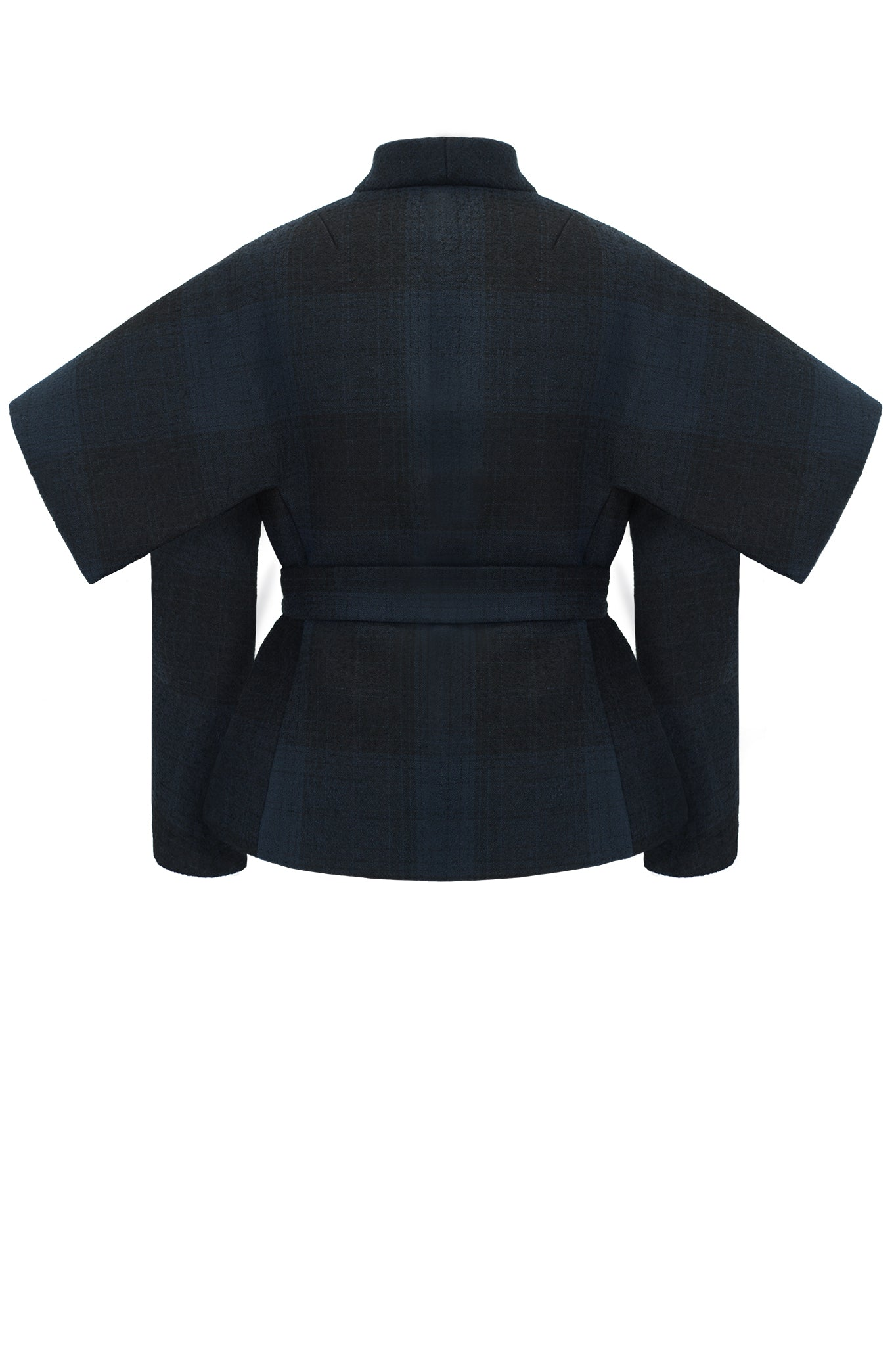 cimone wool striped navy belted jacket back