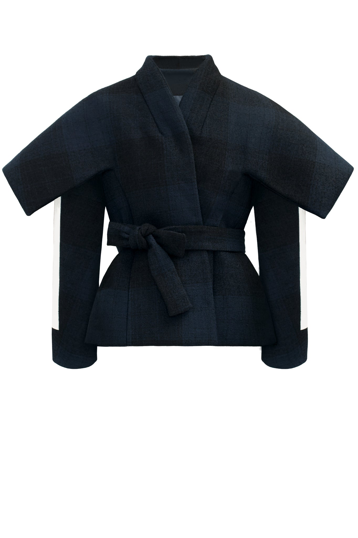 cimone wool striped navy belted jacket