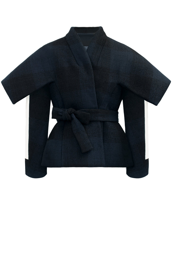 cimone wool striped navy belted jacket front