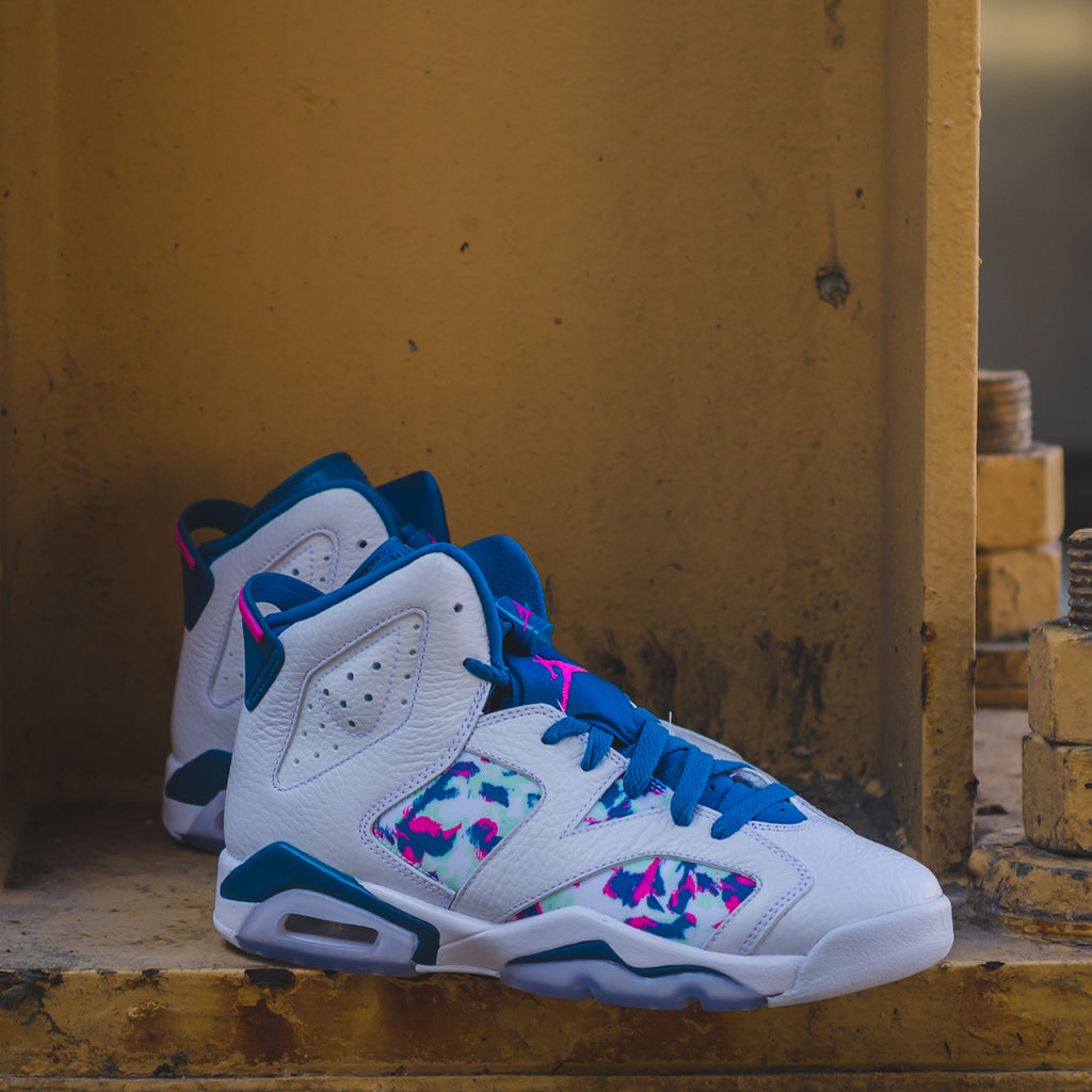 Girls Air Jordan 6 Green Abyss
