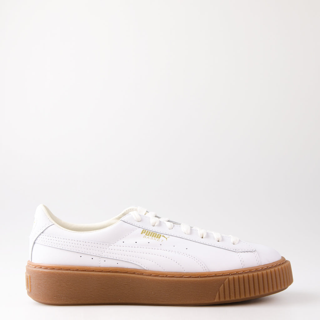 Women's Puma Basket Platform Core Sneakers White / Gum