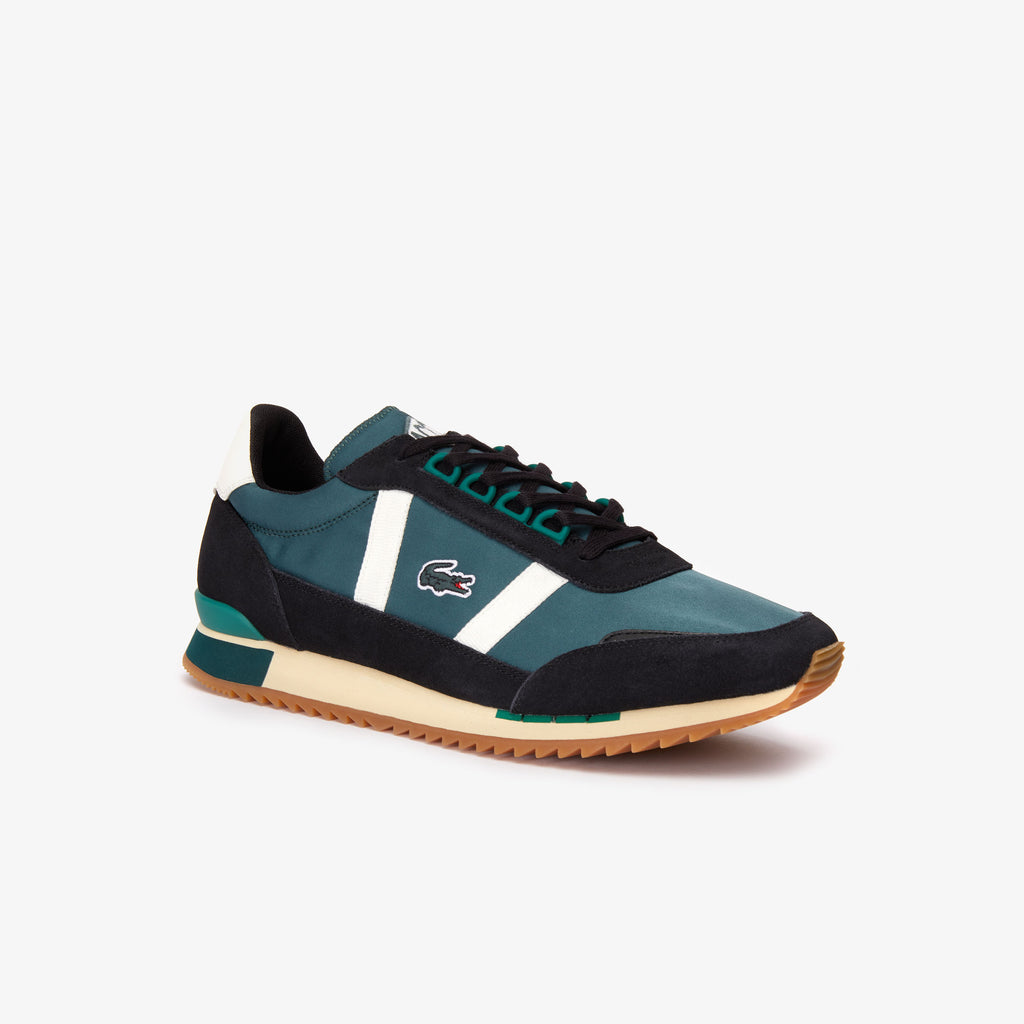 Men's Lacoste Partner Retro Suede-Paneled Shoes Dark Green (738SMA00061X3) | Chicago City Sports | side view