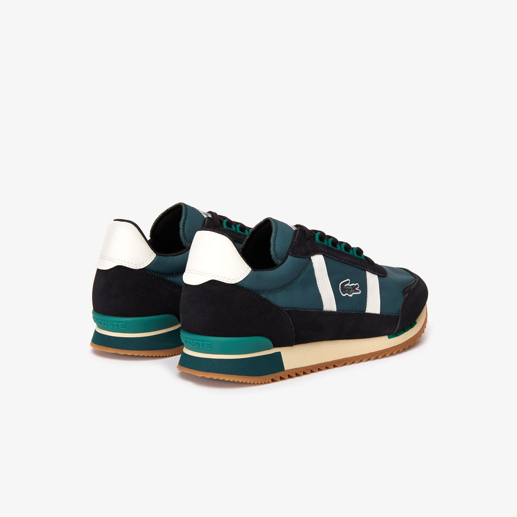 Men's Lacoste Partner Retro Suede-Paneled Shoes Dark Green (738SMA00061X3) | Chicago City Sports | rear diagonal view