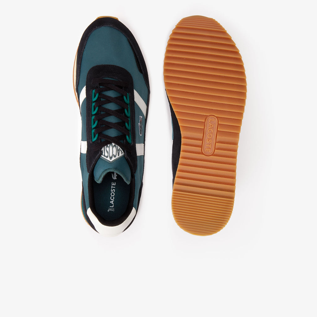 Men's Lacoste Partner Retro Suede-Paneled Shoes Dark Green (738SMA00061X3) | Chicago City Sports | top and bottom view