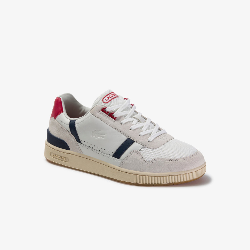 Men's Lacoste T-Clip Leather Shoes Off White (739SMA00578R1) | Chicago City Sports | side view