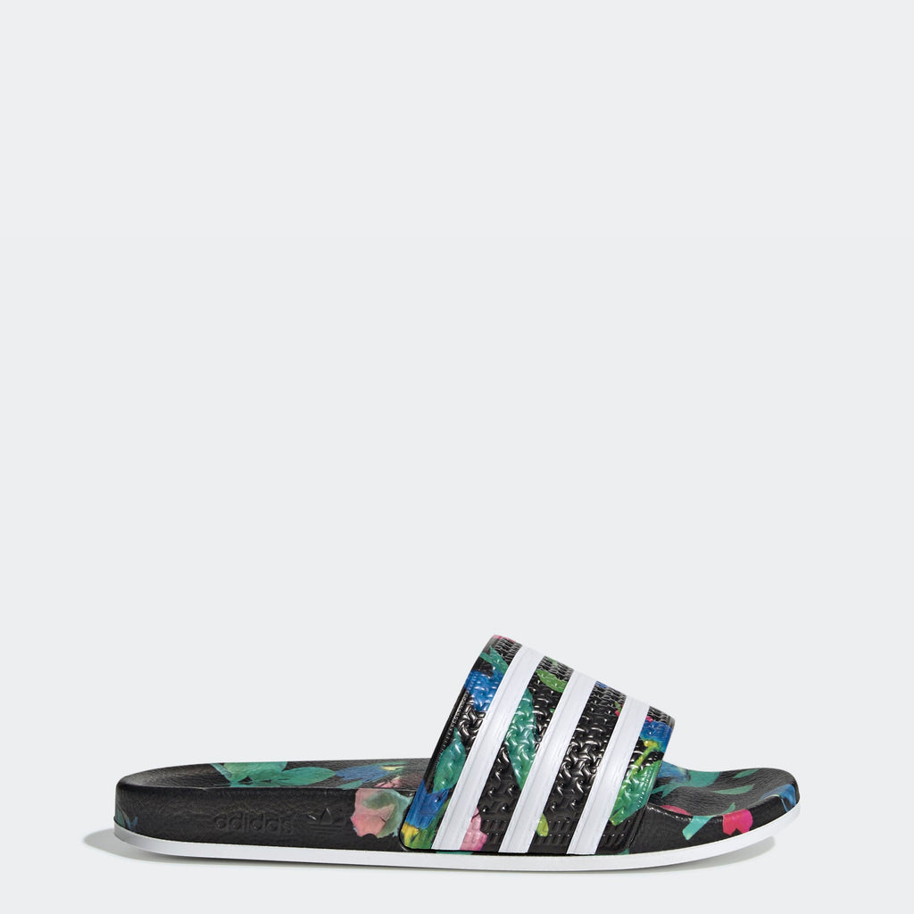 Women's adidas Originals Adilette Slides Black Floral