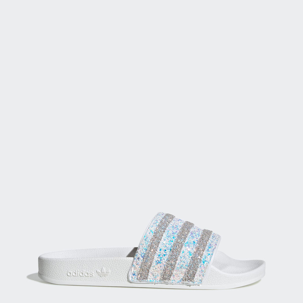 Women's adidas Originals Adilette Slides Glitter White