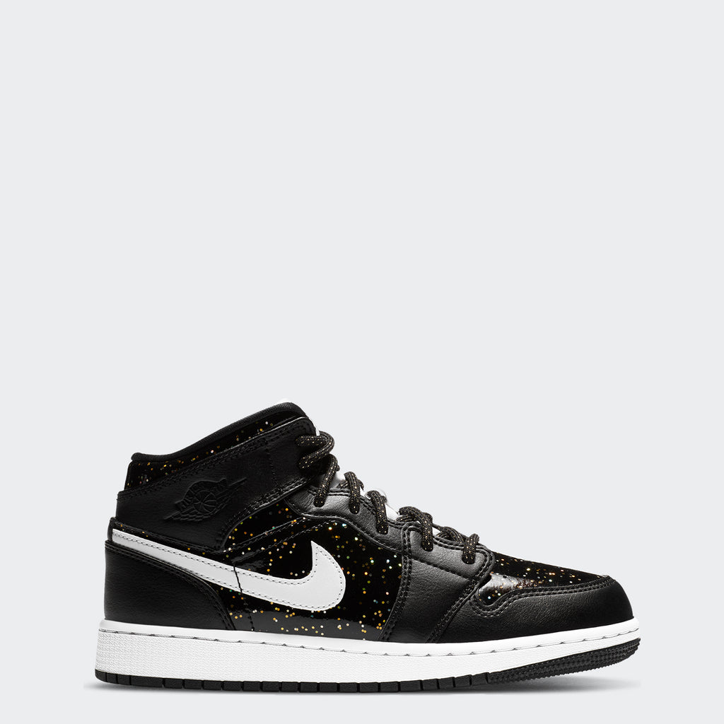 "Big Kids' Air Jordan 1 Mid SE Shoes ""Black Speckle"""