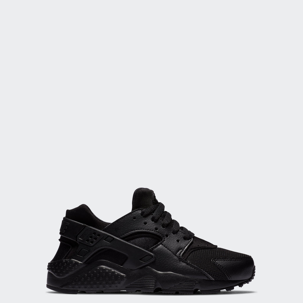 Big Kids' Nike Huarache Run Black 654275-016 | Chicago City Sports | side view