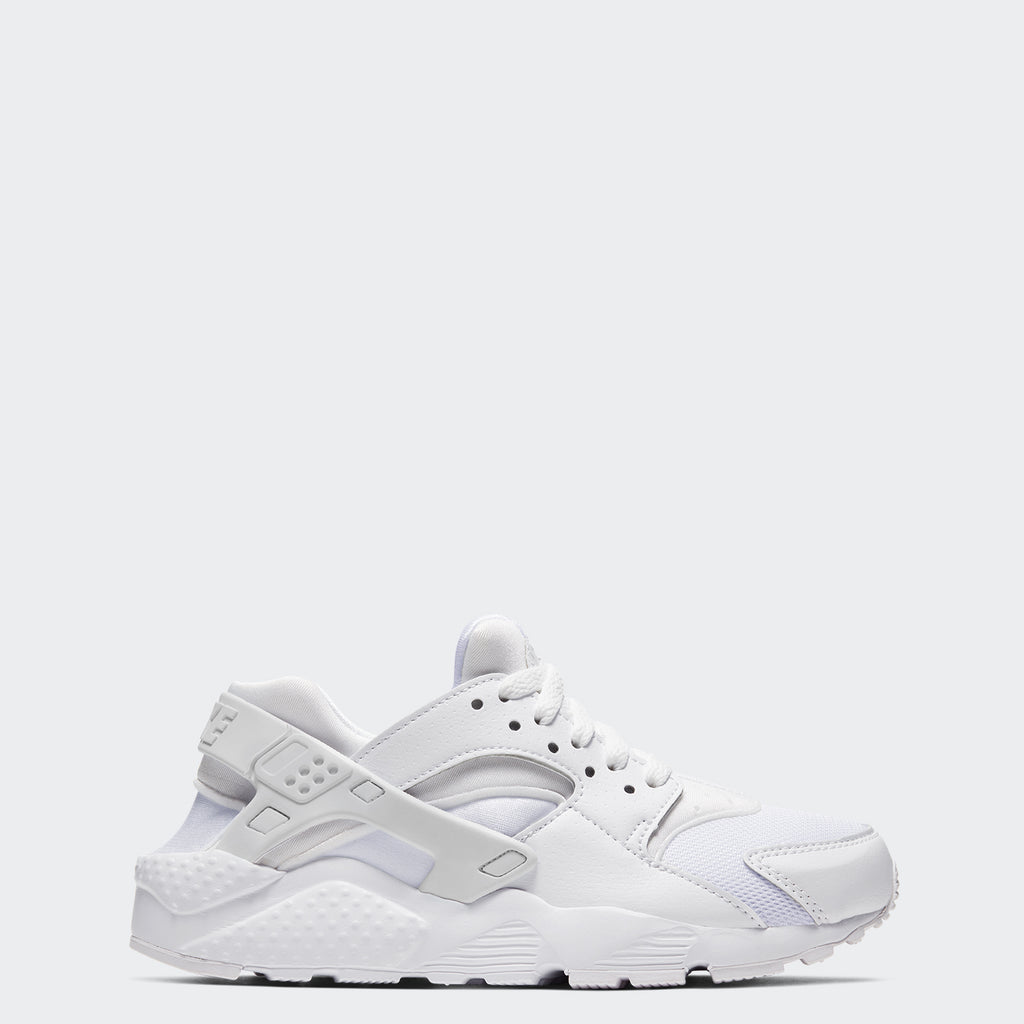 Big Kids' Nike Huarache Run White 654275-110 | Chicago City Sports | side view
