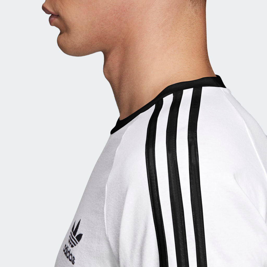 Men's adidas Originals 3-Stripes Slim Tee White CW1203 | Chicago City Sports | shoulder view