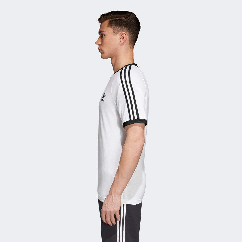 Men's adidas Originals 3-Stripes Slim Tee White CW1203 | Chicago City Sports | side view on model