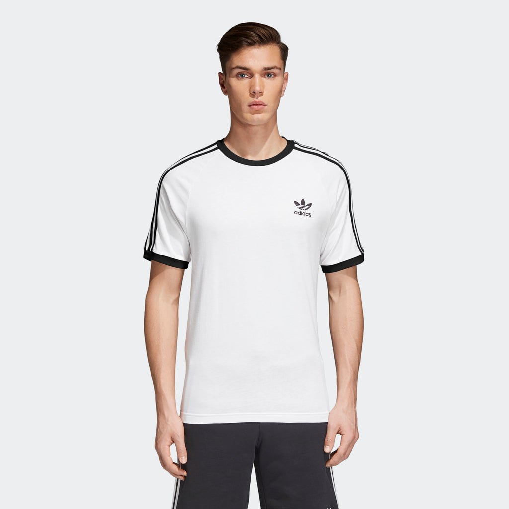 Men's adidas Originals 3-Stripes Slim Tee White CW1203 | Chicago City Sports | front view on model