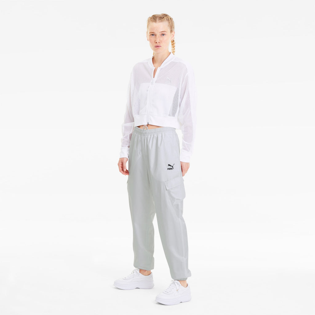 Women's PUMA Classics Utility Pants White (SKU 59849602) | Chicago City Sports | front view on model