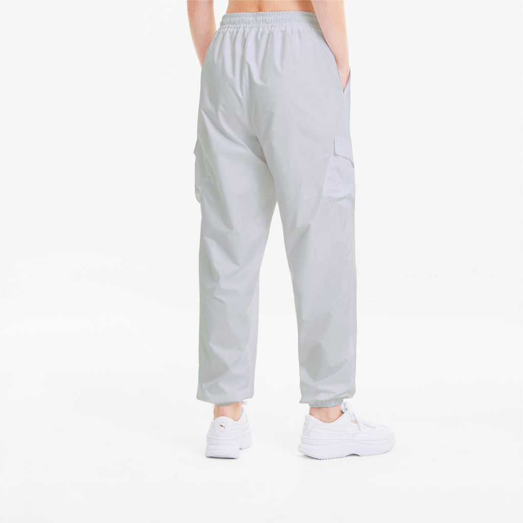 Women's PUMA Classics Utility Pants White (SKU 59849602) | Chicago City Sports | back view on model